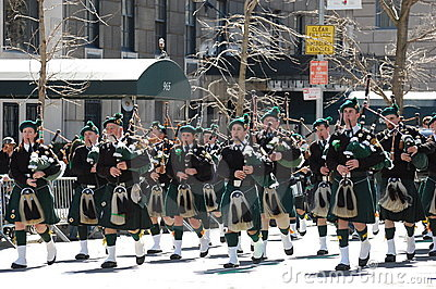 Bagpipers in New York City Saint Patrick s Parade Editorial Stock Photo