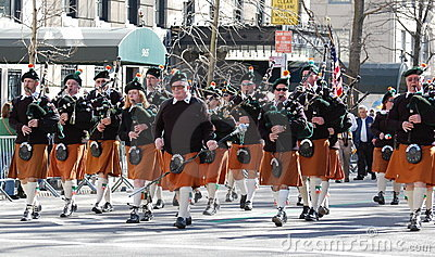 Bagpipers in New York City Saint Patrick s Parade Editorial Image