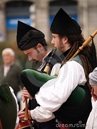 Bagpipes Bands in Asturias, Spain Editorial Photography