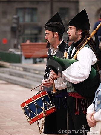 Bagpipes Bands in Asturias, Spain Editorial Stock Photo