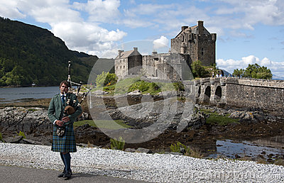Bagpipes at Eilean Donan Castle Editorial Image