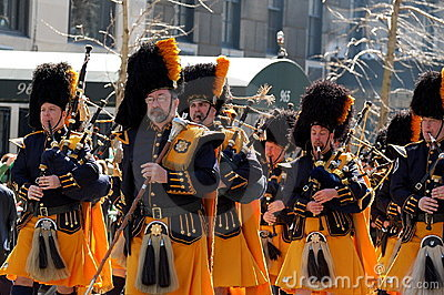 Bagpipes in New York s St. Patrick s Day Parade Editorial Stock Photo