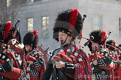Bagpipes in New York's St. Patrick's Day Parade Editorial Stock Photo