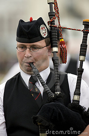 Bagpipes nos jogos das montanhas em Scotland Imagem de Stock Editorial