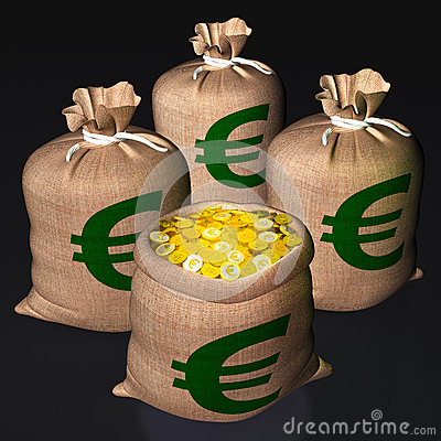 Bags Of Coins Shows European Economy