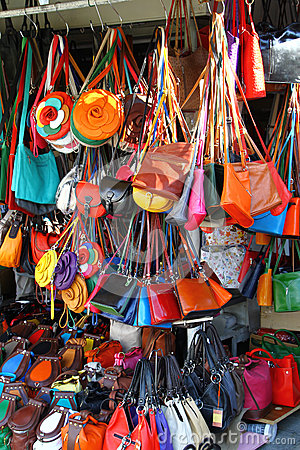 Bags at market stall