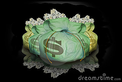 Bags of money with reflection