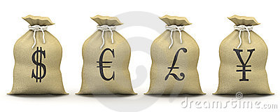 Bags of money with symbols of dollar, euro, pound