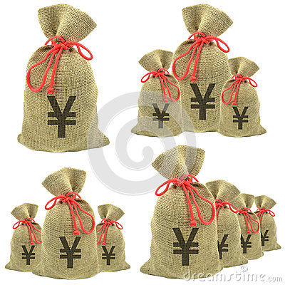 Bags of money with yen