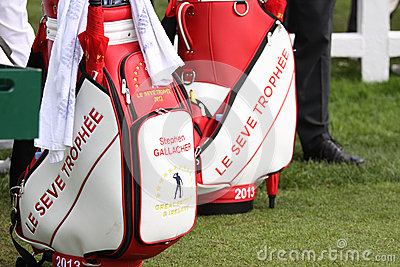 Bags of players at the Seve Trophy 2013 Editorial Image