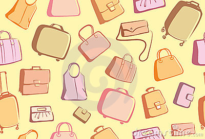 Bags and suitcases doodles background