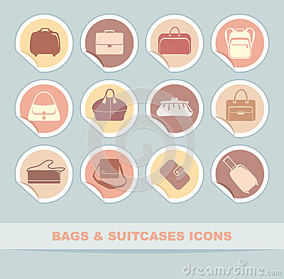 Bags and suitcases icons