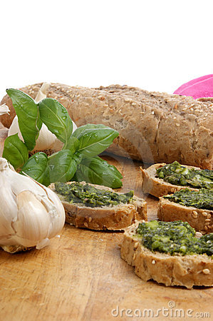 Baguette as snack with homemade fresh pesto