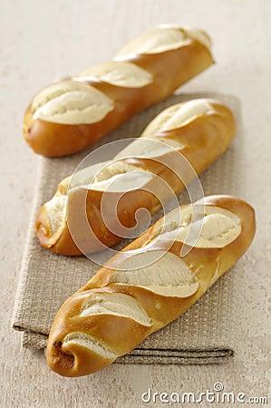Baguette-shaped bretzels