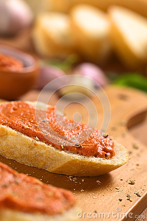 Baguette with Tomato Spread