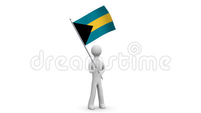 Bahamas waving flag. 3d Man holding and waving Bahamian flag on transparent background. Loop. Alpha channel. Stock Photo