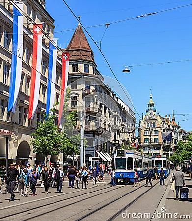 Free Bahnhofstrasse Street In Zurich, Switzerland Royalty Free Stock Images - 99907069