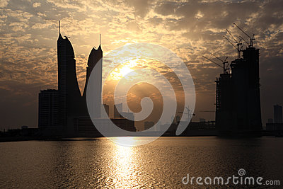 Bahrain Financial Harbour at sunset