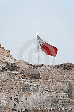 Bahrain Flag on top of Bahrain Fort