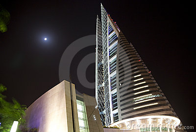 Bahrain World Trade Center at Night, Bahrain