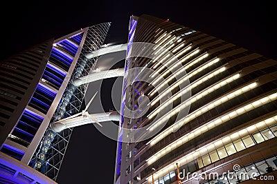 Bahrain World Trade Centre at Night, Bahrain