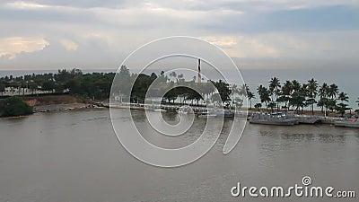 Baia in bocca del fiume di Ozama Santo Domingo, Repubblica dominicana stock footage