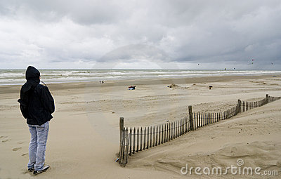 Baie de Somme with young man - France