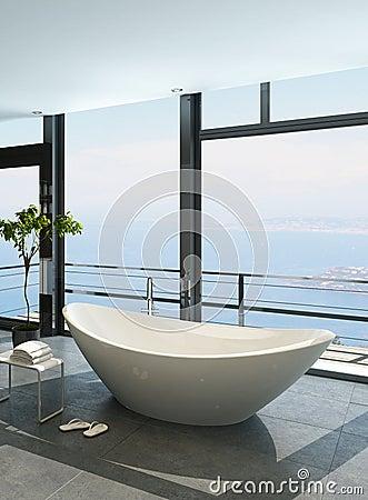 Baignoire de luxe ch re contre la fen tre panoramique avec for La fenetre panoramique