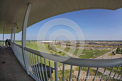 Bailey rail yard in fisheye perspective Editorial Stock Photo