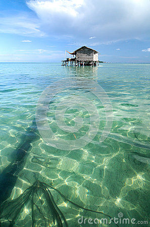 Bajau fisherman s wooden hut