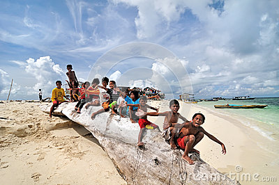 Bajau kids Editorial Stock Photo