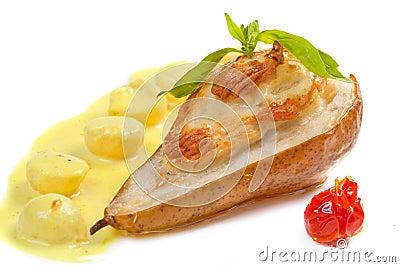 Bakade päron med ost
