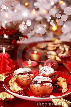 Free Baked Apples For Christmas Stock Photography - 17384352