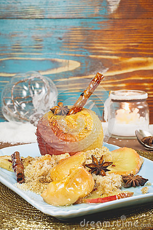 Free Baked Apples In Rustic Setting Served For Christmas Royalty Free Stock Photos - 45922368