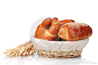 Baked bread in basket