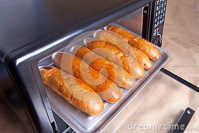 Baked bread in electric oven