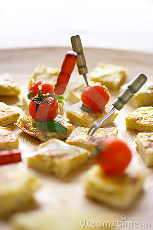 Baked bread with vegetable