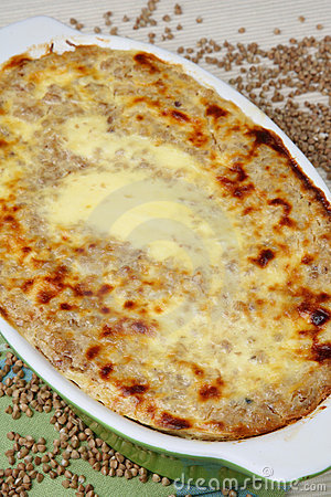 Baked buckwheat mash in baking pan