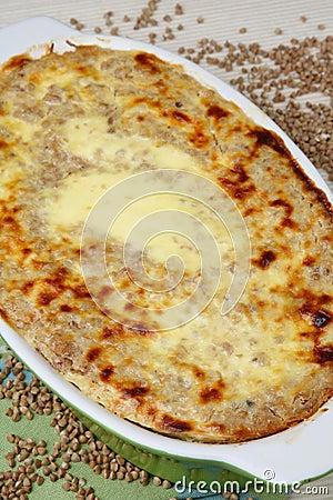 Baked buckwheat mash in baking pan