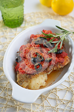 Free Baked Cod Under Tomato Sauce Stock Photo - 39961250