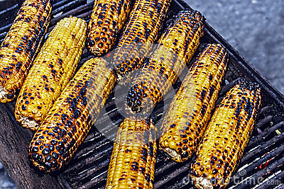 Baked corn on the grill