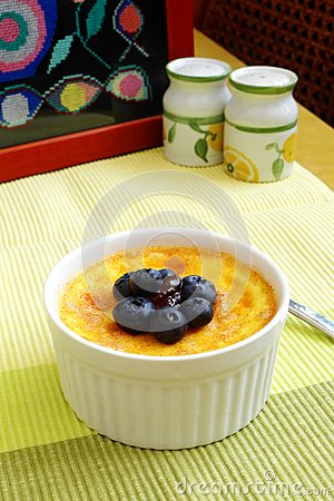 Baked Egg Custard, Blue Berries, Jam Stock Photo - Image: 45077786
