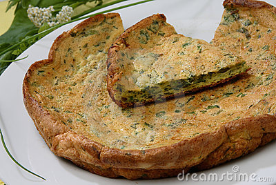 Baked egg omelette with herbs