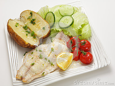 Baked fish fillet meal