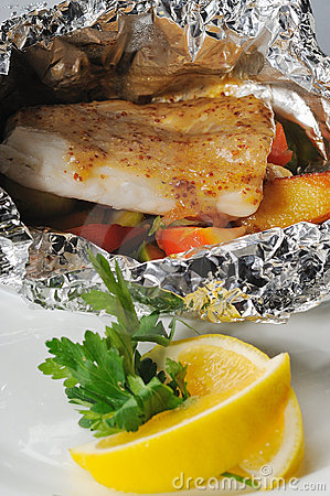 Baked fish in sauce