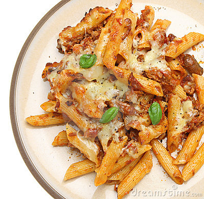 Baked Penne Pasta with Bolognaise Sauce & Cheese