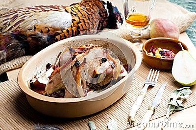 Baked pheasant