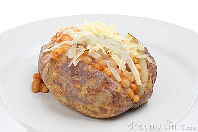 Baked Potato with Beans and Cheese