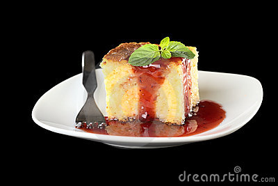 Baked Rice Pudding with Strawberry Sauce and Mint