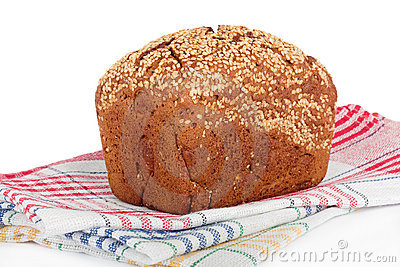 Baked rye bread with linseeds